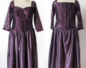 1980's  Purple and black dress lace  style fifties