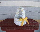 Handmade crochet rag basket white gold green with handle for Easter or decorative container