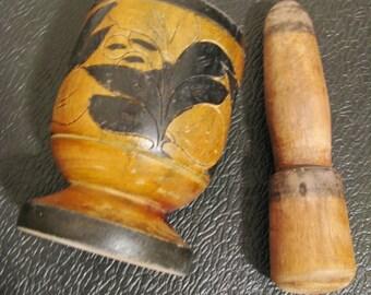 Mortar/Pestle with Carved Flower Design