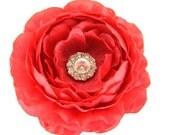 Red Rhinestone Dog Collar Flower, Collar Attachment: Ruffled Rani in Red