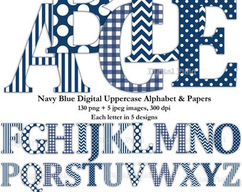 Navy blue uppercase alphabet clip art set & digital scrapbooking paper- printable digital letters - instant download
