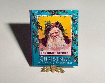 Miniature Book NIGHT BEFORE CHRISTMAS - Clement Moore - McLoughlin Bros -  One Inch Childrens Dollhouse Miniature Xmas Story Book Accessory