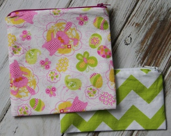 Easter Bunny Plain or Personalized Reusable Sandwich or Snack Bags with Zipper Closure