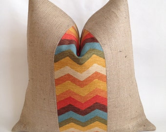 Multi Color Chevron Fabric and Natural Burlap Pillow Cover