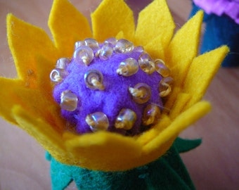 Yellow and Purple Beaded Peg Doll Flower Fairy, Waldorf Inspired, Small Wool Felt Flower Fairy,