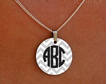 enameled chevron circle monogram necklace