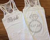 CUSTOM Rhinestone Bride Tank Top with Ring on Back  Wedding Date,Personalized Lace Tank Top,Rhinestone Bachelorette Party Tanks,Bride Gift