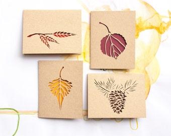 Blank Card Set (4): Autumn Leaves--Colorado Leaves--Earth Tones