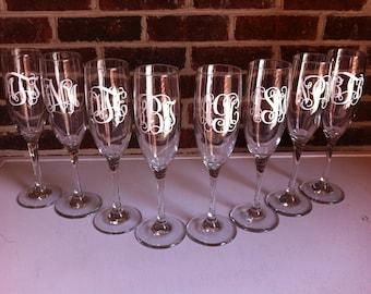 monogrammed set of 8 Champagne Flutes-