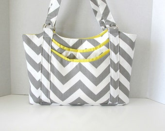 Gray Chevron Purse Shoulderbag with Outside Pockets Zipper Closure Made to Order