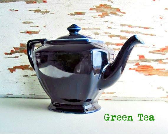 Vintage Hall Tea Pot, Hall Teapots, Navy Blue Teapot, Vintage Teapot, Vintage Tea Kettle, 1930's Pottery, China Hall, Hall Pottery