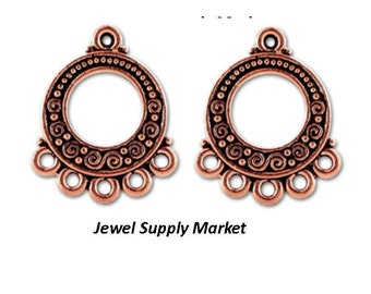 2pcs-22x18mm genuine copper 5 hole, chandelier earrings findings, necklace focal point, drop, pendant, gypsy style, connector