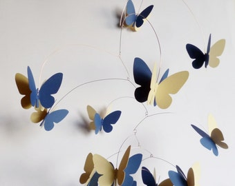 3D Butterfly Mobile, Navy blue and bright yellow Mobile, Hanging mobile, Kinetic mobile, Room decor