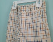 Vintage White Blue Gold Plaid Bell Bottoms Kid's Size 5