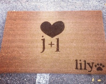 Couples Custom Made  Outdoor Doormat/Welcome Mat - Heart, Couple Initials, and Pet Name