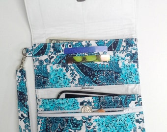 Blue Paisley with Solid White Cell Phone or Checkbook Wallet Wristlet
