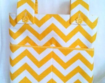 Yellow and White Chevron Walker Bag