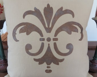 "Lined Linen  Fleur De Lis  pillow cover , 18"" X 18"""