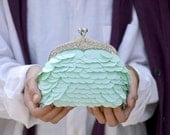 Pastel Lake clutch - pastel green sequin handbag, small clutch