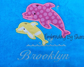 Personalized kids Bath Towel -Dolphin bath towel -0r beach towel, childrens bath towels -kids gifts -birthday gifts for kids