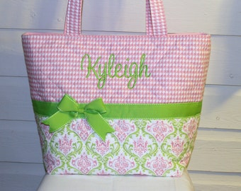 XL Pink and Green Damask - Houndstooth Quilted Purse / Tote / Diaper Bag