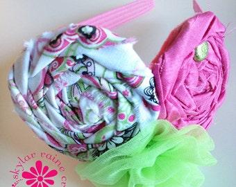 KIDS- Girls Headband - Pink and Green Headband - Boutique style - Shabby Chic - girls headband- PINK headband - photo prop