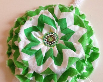 Green chevron Headband  - Green & White Chevron Headband - St Pattys headband -  Fits Girls to adults  - Boutique style - Photo Prop