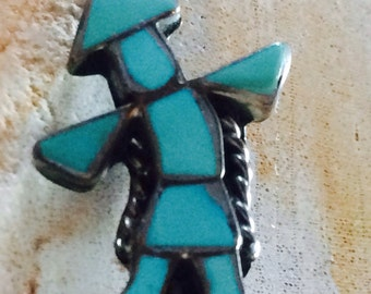 Vintage Zuni Channel Inlay Turquoise Rainbow Man Stick Pin