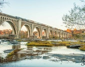 James River Railway Bridge Fall Photo Richmond Va , Train Print Virginia Landscape Photo Art