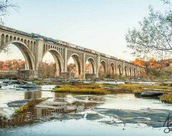 SALE James River Railway Bridge Fall Photo Richmond Va , Train Print Virginia Landscape Photo Art