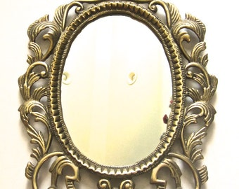 VTG Ornate Mirror in Wall Mount or Prop on an Easel, Victorian Accents in Gold
