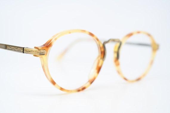 unique vintage bronze demi oval shaped eyeglass frames