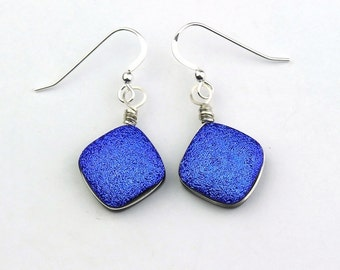 Wire Wrapped Dark Blue Dichroic Glass Earrings, Druzy Style