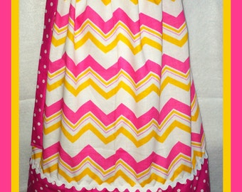 Pink and Orange Chevron and Dots Pillowcase Dress