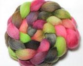 Handpainted Roving - Watermelon - Falkland Wool, 4 ounces.