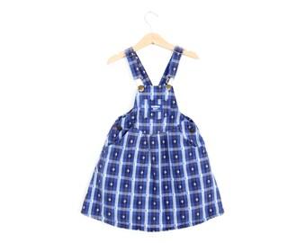 Vintage OshKosh Overall Skirtall Dress in Denim Plaid Size 6 Years