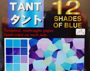 Origami Paper - 96 sheets of Tant Blue 3 inch origami paper - same color both sides - 12 shades of blue origami paper