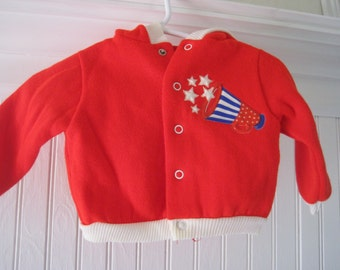 Vintage red, white and blue sweatsuit, two piece, cheerleader, size 6 months