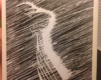 Black and White Rain .....Tile Coaster / Trivet
