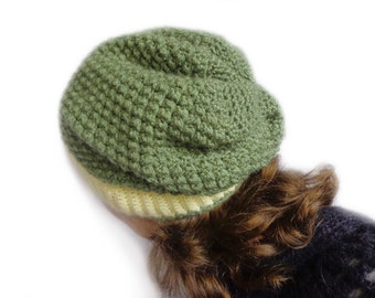 Grass green crochet slouchy beanie hat, green hat