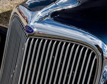 Dark Blue Vintage Ford Grille -- Fine Art  Photography Print -- Photo, Home Decor, Vintage Car, Automobile, Ford,  Art