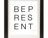 "Yoga Art Print ""Be Present"" Black and White Word Art / Minimalist Style"