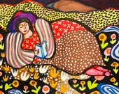 Woman Art Print, Whimsical Girl Print, Mixed Media Art, Girl And Flowers, Reclining Woman, Girls Room Decor, Solitude by Paula DiLeo_9914