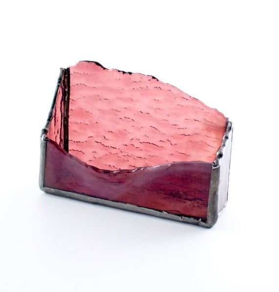 Stained Glass Business Card Holder Desk Accessory