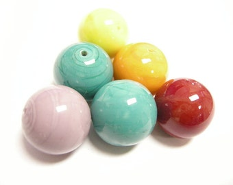 6pc 20mm mix color painted glass beads-8865