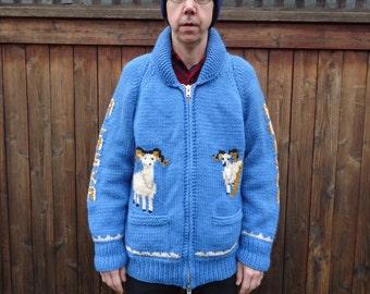 Vintage 1960s Cowichan Wool Cardigan Alaska Horned Goats sz L to XL