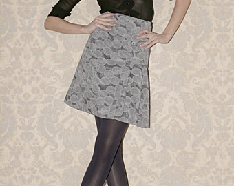 Grey polka dots skirt, pleated, Made to order