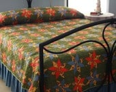 """Quilt Full Size - Beautiful Hand Pieced, Hand Sewn,  Hand Stitched Quilt 76 X 111"""" in a Star Pattern"""