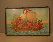 Framed Vintage Postcard - Congratulations - Ship - Sailboat - Roses