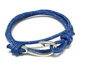 Nautical bracelet  Fish hook rope bracelet - men's bracelet with a silver anchor charm  - nautical jewelry, bracelet for men, gift for him